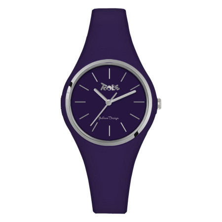 Watch lady in anallergic silicone indigo and silver ring
