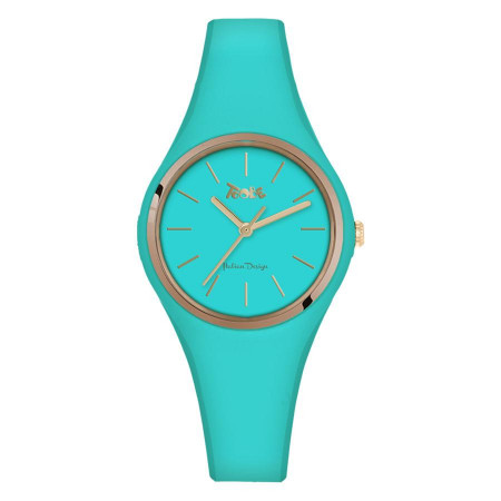 Watch lady in anallergic silicone blue and golden ring