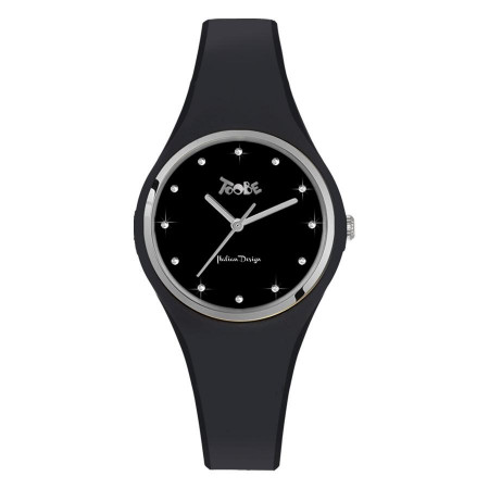 Watch lady silicone black anallergic and indexes in Swarovski