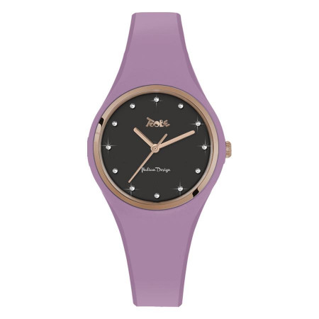 Watch lady in silicone anallergic lavender and indexes in Swarovski