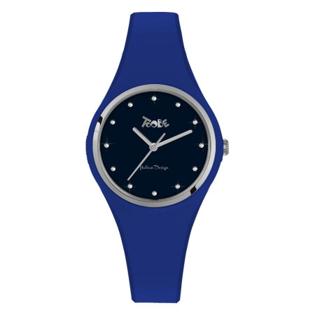 Watch lady in silicone anallergic electric blue and indexes in Swarovski