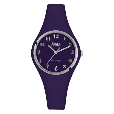 Watch lady in anallergic silicone indigo, ring and silver indexes