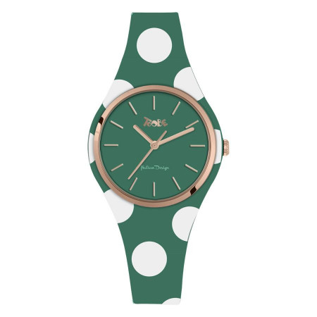 Watch lady in anallergic silicone green with white polka dots