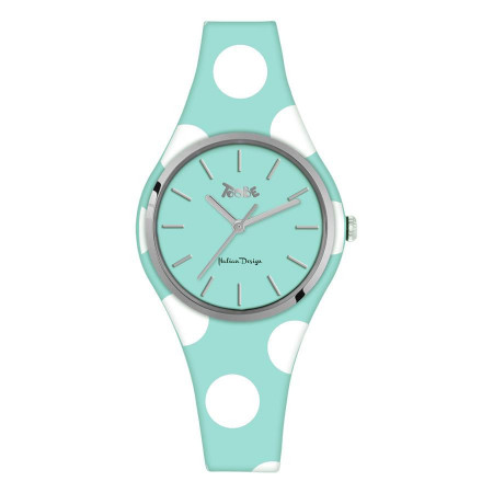 Watch lady in anallergic silicone light blue with white polka dots