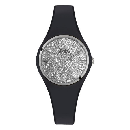 Watch lady in anallergic silicone black with quadrant in the glitter of silver