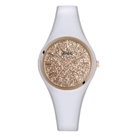Watch lady in anallergic silicone white with quadrant in glitter rosato