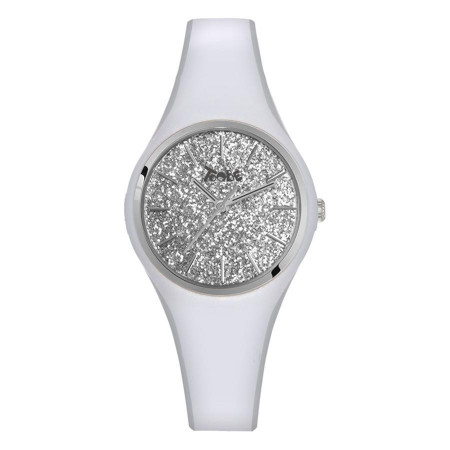 Watch lady in anallergic silicone white with quadrant in silver glitter