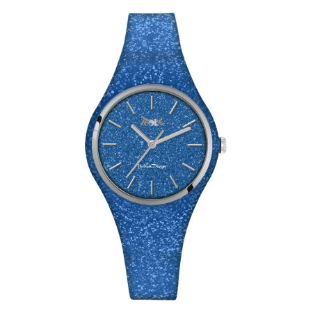 Watch lady of silicone and quadrant blue denim glitterato