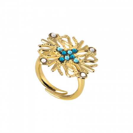Ring with coral decoration and green Swarovski