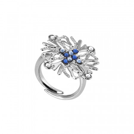 Ring with coral decoration and blue Swarovski