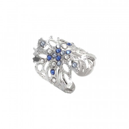 Coral band ring with blue Swarovski