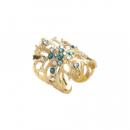 Coral band ring with green Swarovski