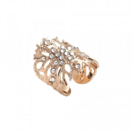 Coral band ring with Swarovski crystal