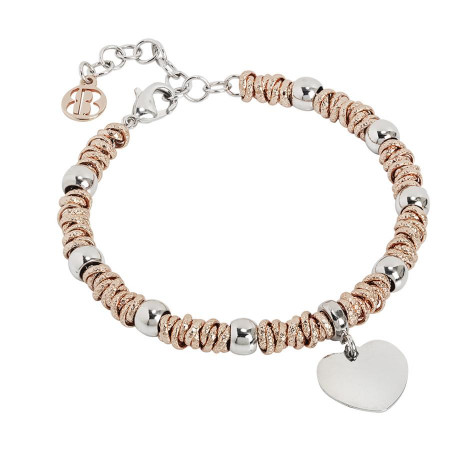 Bracelet bicolor with heart rodiatos