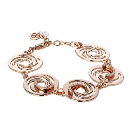 The semirigid Bracelet gold plated pink with decorations of vortex and zircons