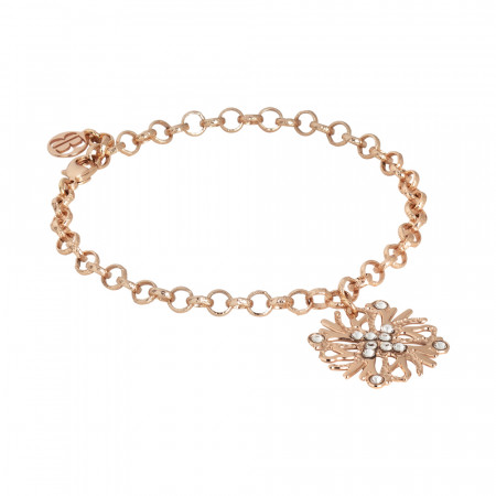 Rose gold plated bracelet with coral charm and Swarovski crystal