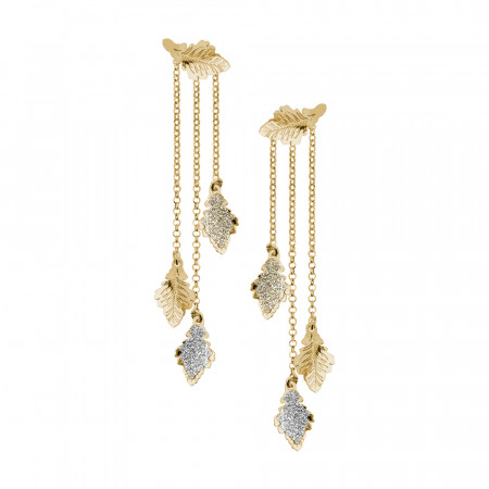 Double gold-plated yellow earrings with oak leaves