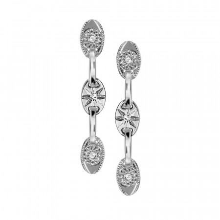 Rhodium-plated modular earrings with Horus eye and Swarovski