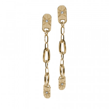 Yellow gold plated earrings with pendant chain and Swarovski