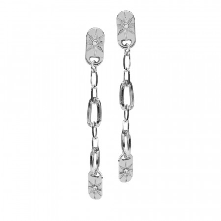 Rhodium-plated earrings with pendant chain and Swarovski