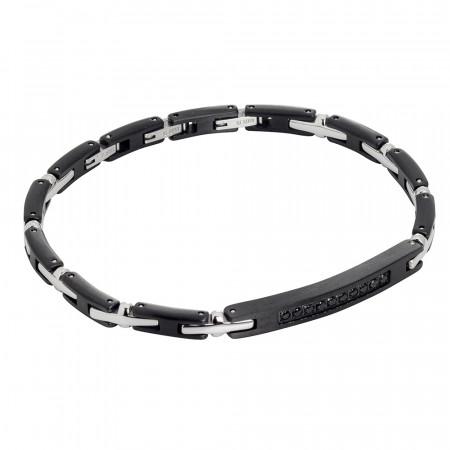 Modular bracelet with black cubic zirconia