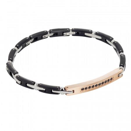 Modular bracelet in rhodium and rosé steel with black zircons