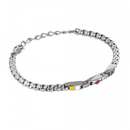 Steel bracelet with enamelled decorative elements