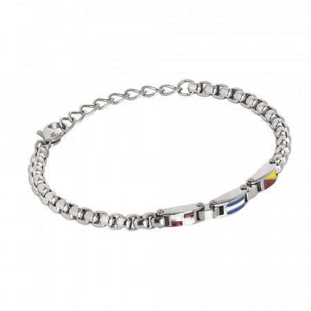 Steel bracelet with enamel central decoration
