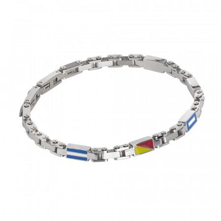 Modular bracelet with enamelled meshes