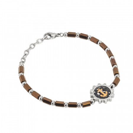 Bracelet with brown and even galvanized hematite