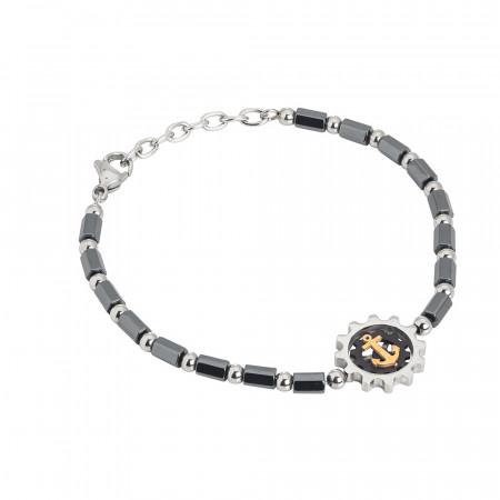 Bracelet with black and white galvanized hematite