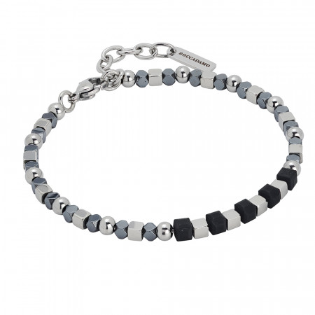 Bracelet with gray and black hematite