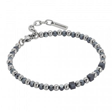 Bracelet with cubes of gray hematite