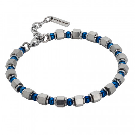 Bracelet with cubes of steel and blue pvd