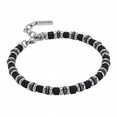 Steel bracelet and black hematite