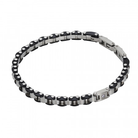 Carved knitted bracelet in black pvd and zircon