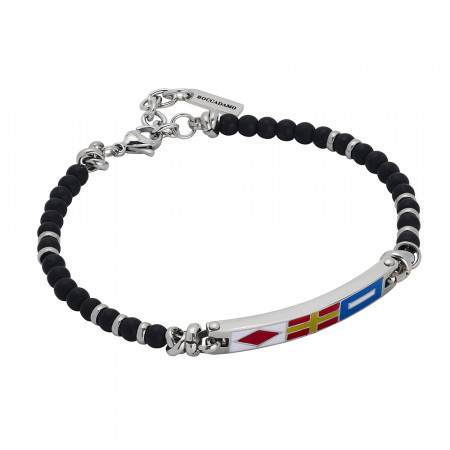Steel bracelet with onyx spheres and enamelled central plate