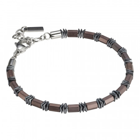 Man bracelet in brown steel and hematite