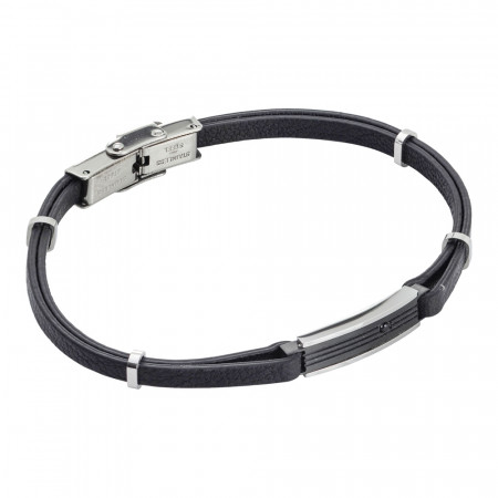 Natural black and zircon leatherette bracelet