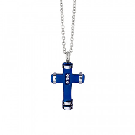 Necklace with crucifix in blue pvd and zircons