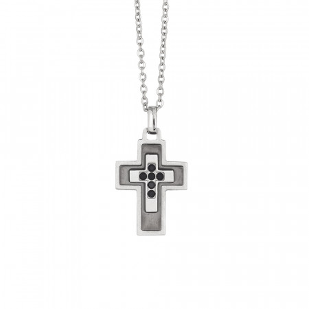 Rhodium-plated necklace with crucifix and black zircons