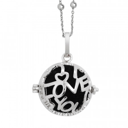Rhodium-plated necklace with opening casket written I love you and wadding