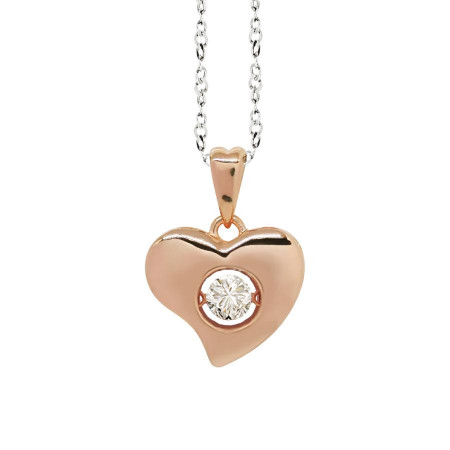 """Necklace bicolor pendant with a curved heart measurement """"medium"""" and zircon"""