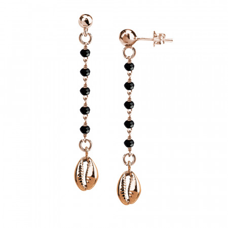 Rosé earrings with black crystals and shell