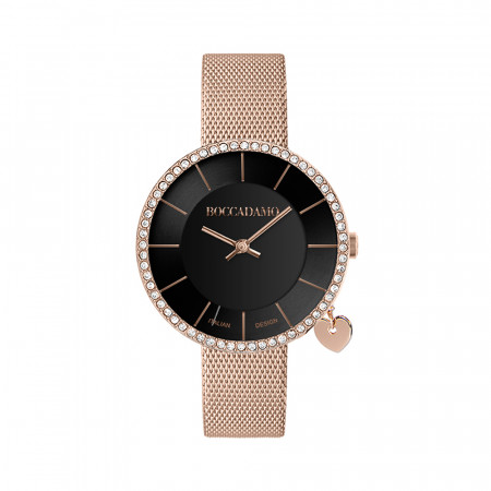 Rose gold watch with black dial on two levels and side-heart charm