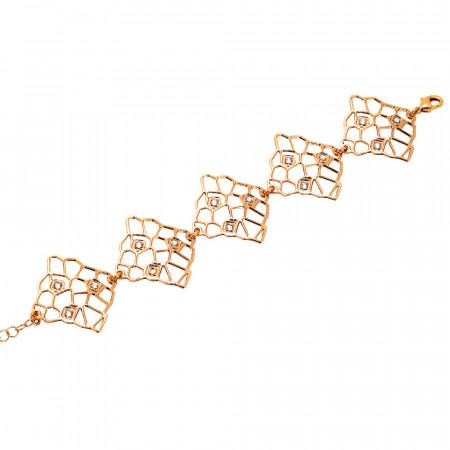 Rosé bracelet with asymmetrical modules and Swarovski