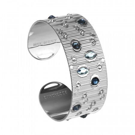 Band bracelet with blue Swarovski