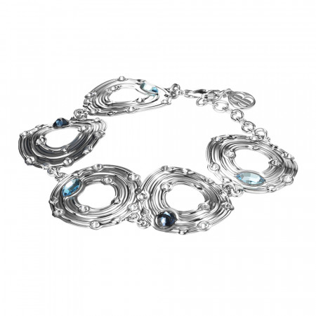 Bracelet with circular modules and blue Swarovski