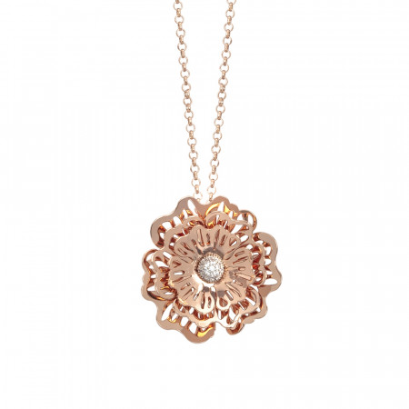 Rosary necklace with three-dimensional wild rose pendant and zircons