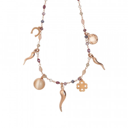 Rosary necklace with multicolor crystals shades of red and luck charms